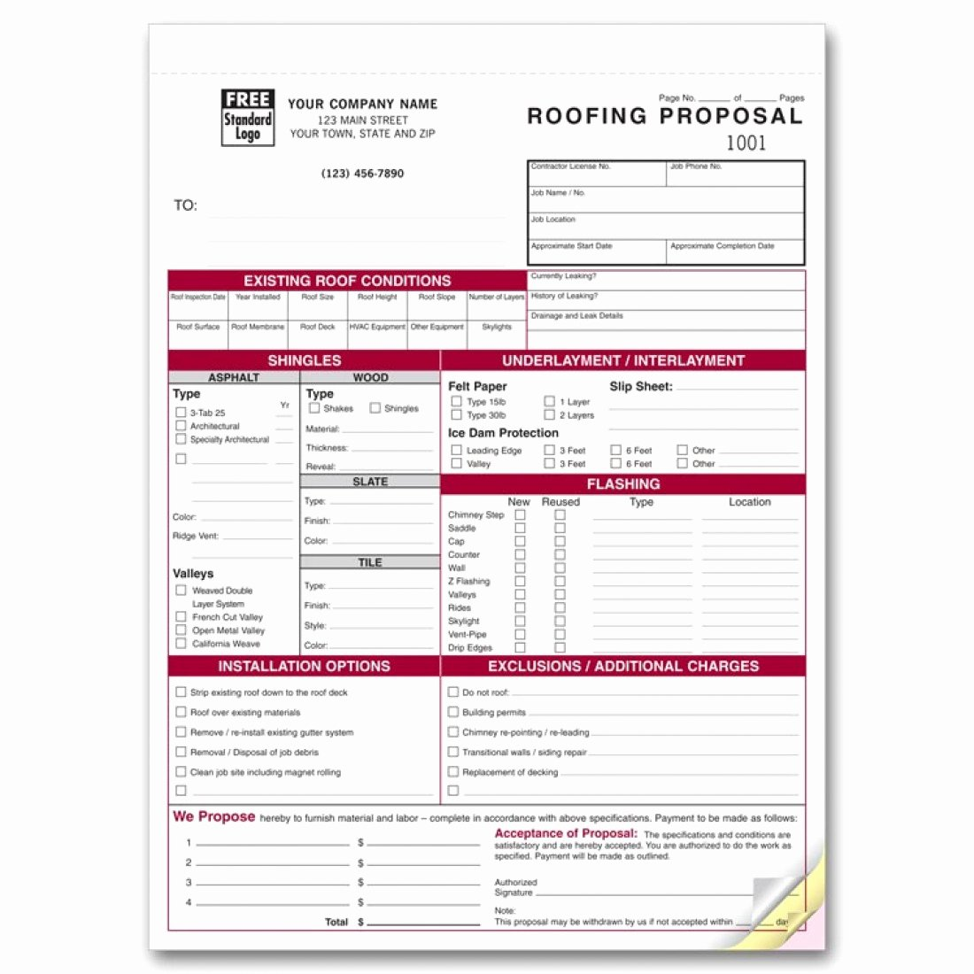 Detailed Roofing Proposal forms 6566 at Print Ez
