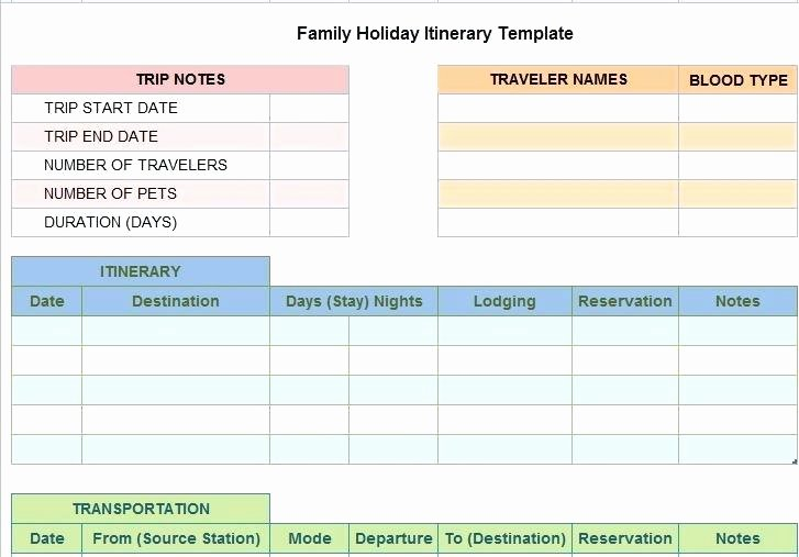 Detailed Travel Itinerary Template Word 2007