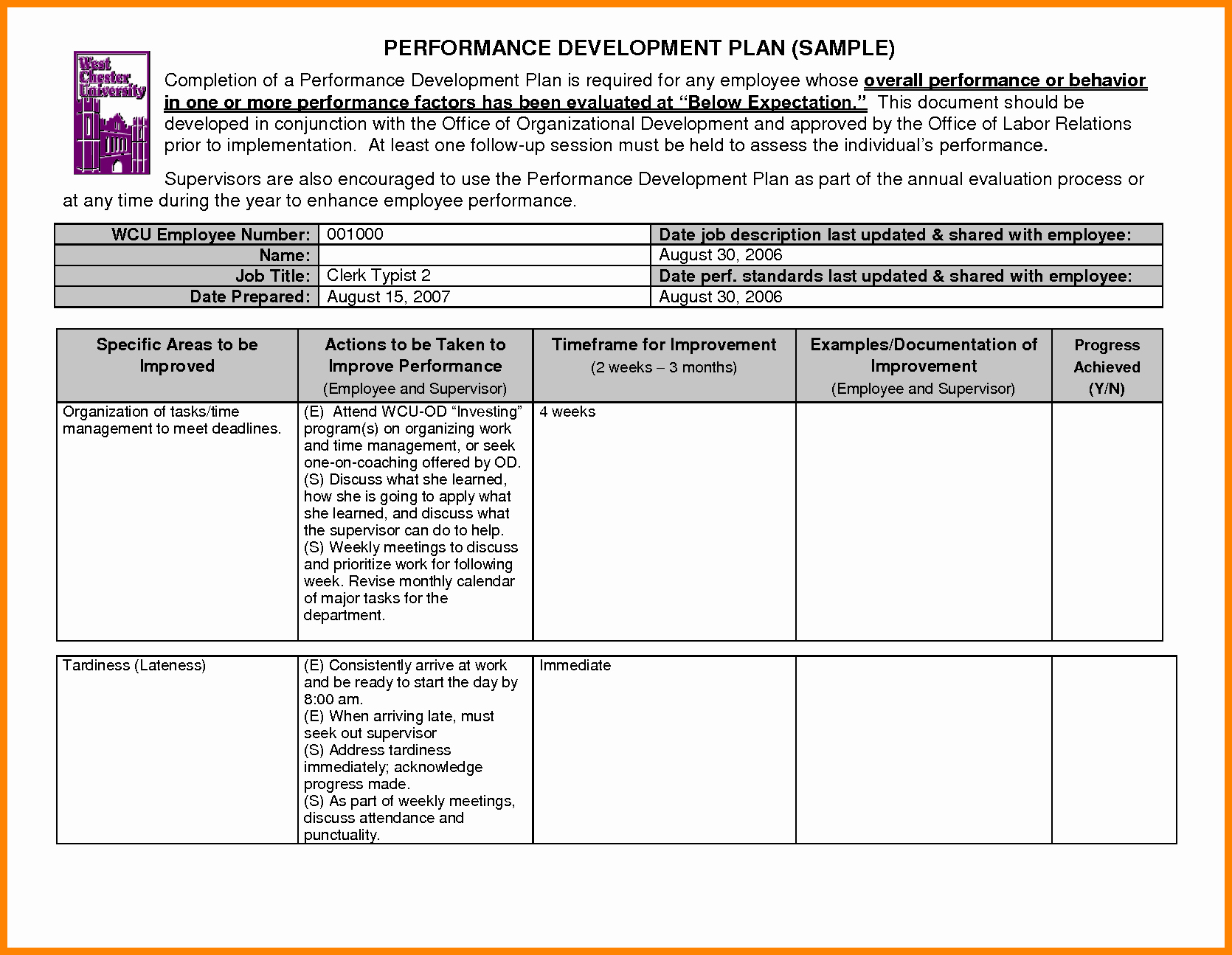Development Plan Template for Employees