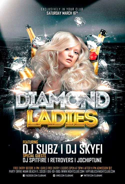 Diamond La S Club Flyer Template for Shop