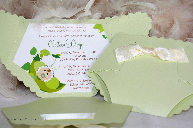 Diaper Baby Shower Invitation Pea In the Pod