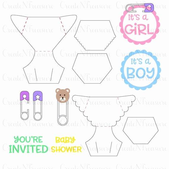 Diaper Invitation Template Svg Baby Shower Diaper Invite