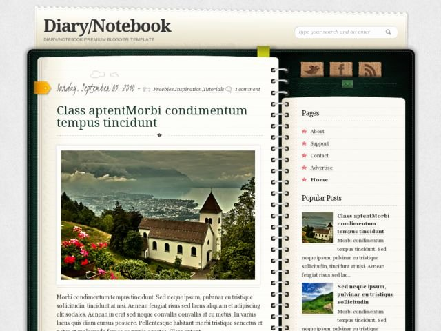 Diary Notebook Blogger Template