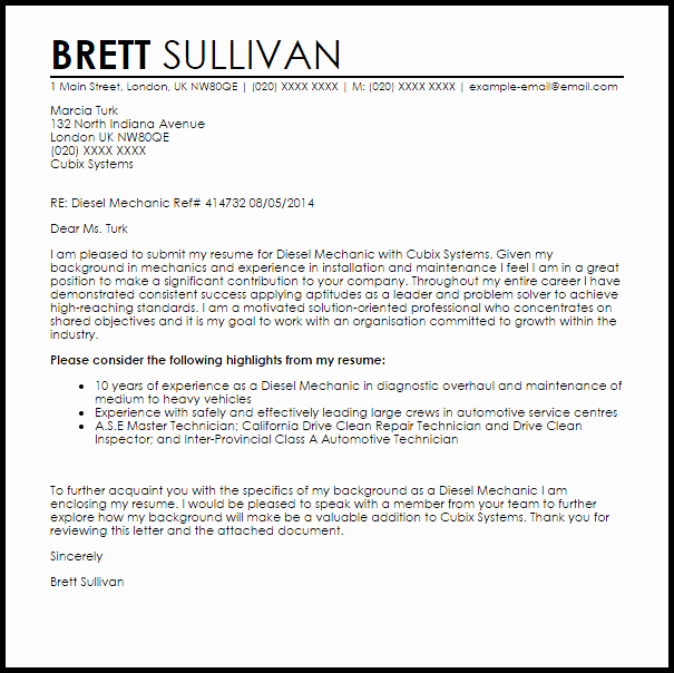 Diesel Mechanic Cover Letter Sample