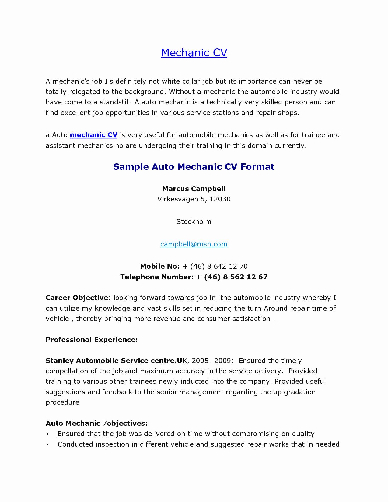 Diesel Mechanic Resume Sample Australia Bongdaao