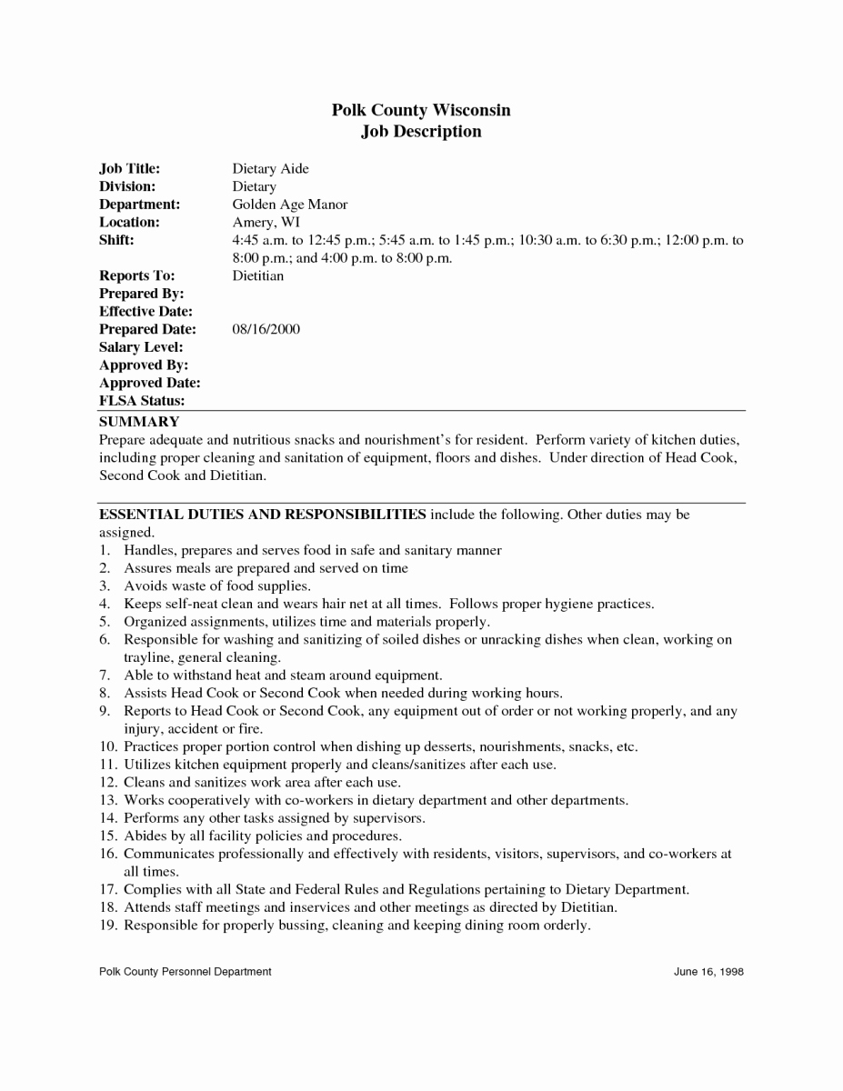 Dietary Aide Job Description for Resume