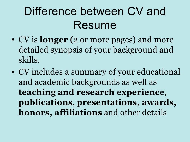 Differences Between Resume Cv Biodata