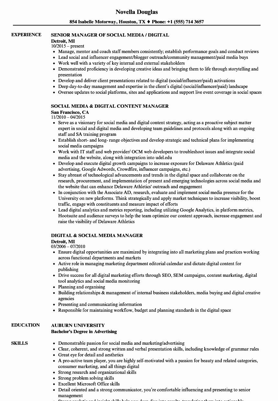 Digital & social Media Manager Resume Samples