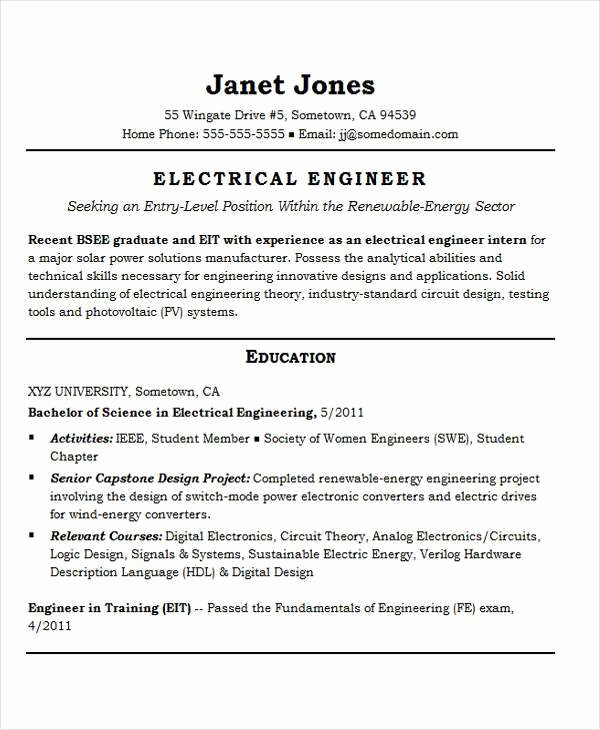 Digital Electronics Engineer Resume