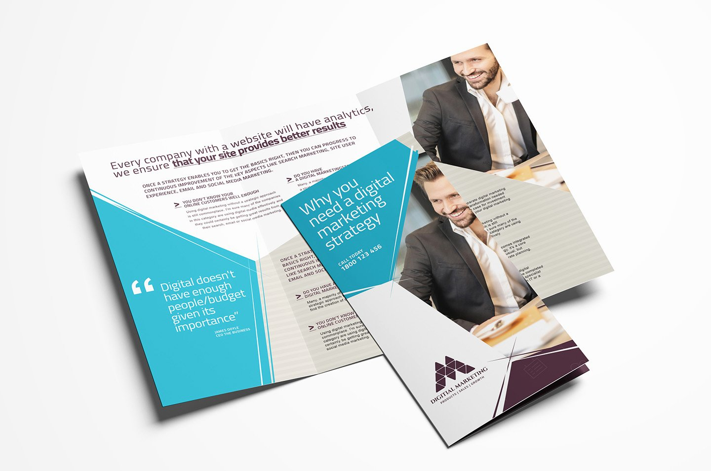 Digital Marketing Tri Fold Brochure Template In Psd Ai