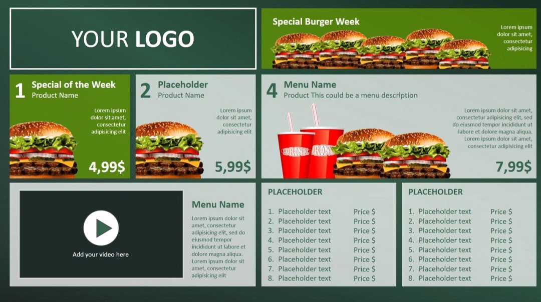Digital Menu Board Powerpoint Design • Presentationpoint