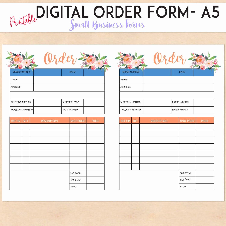 Digital order form Printable Template Custom