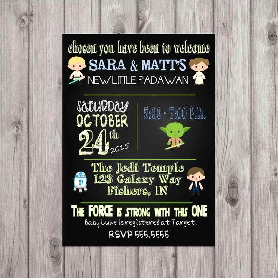Digital Star Wars Chalkboard Style Baby Shower Invitation