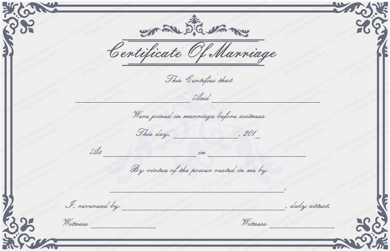 Dignified Marriage Certificate Template