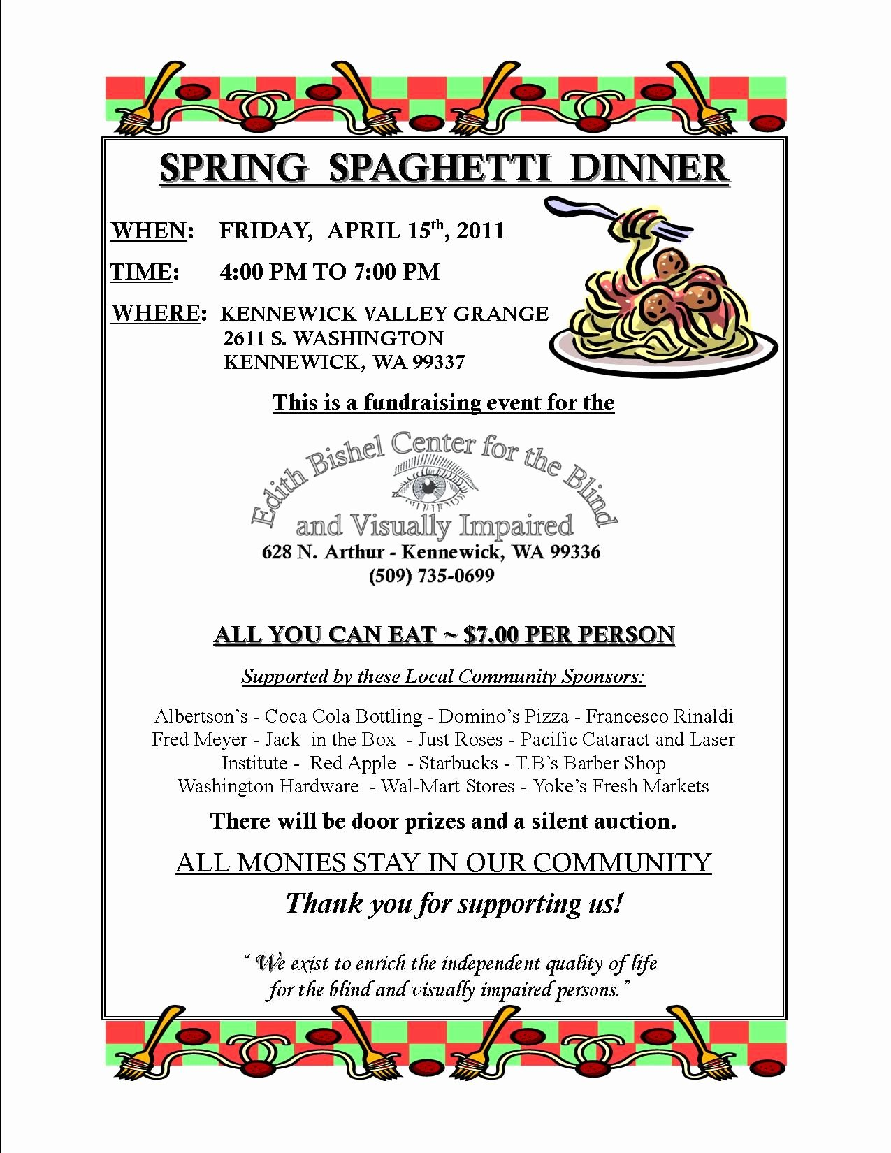 Dinner Fundraiser April 15 2011 Spring Spaghetti Dinner