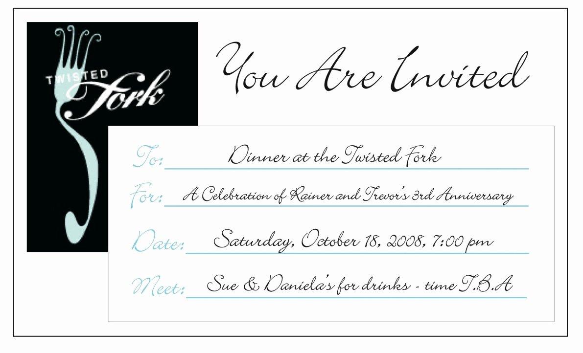 Dinner Invitation Email