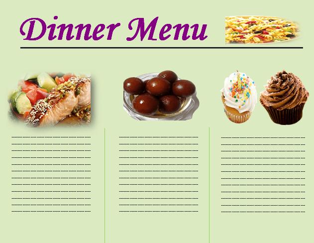 Dinner Menu Template Choose From Beautiful Dinner Menus