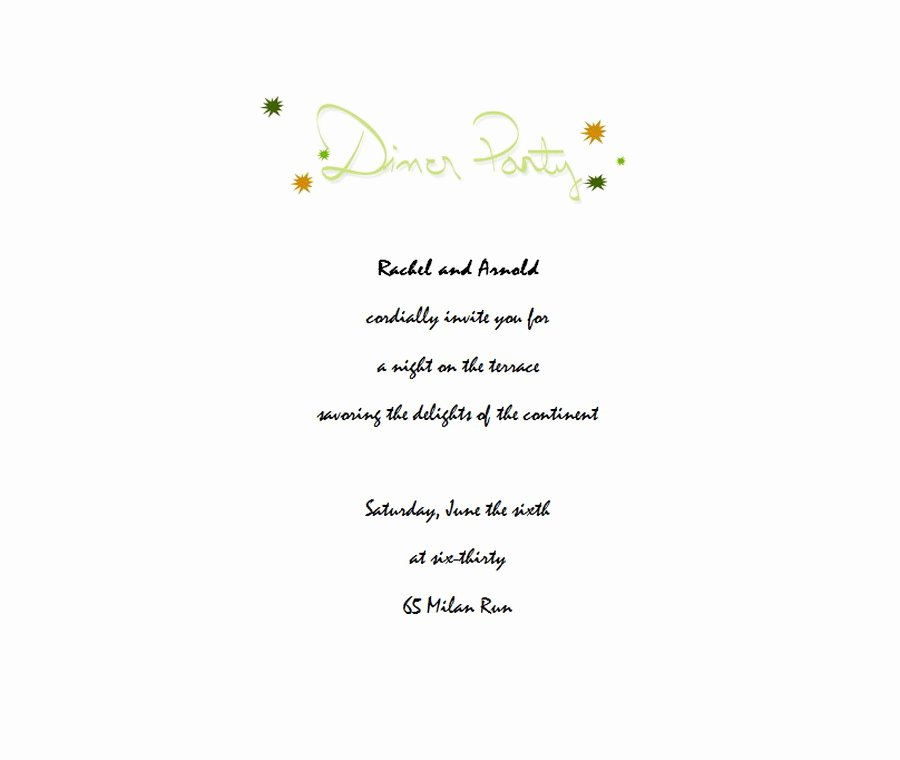 Dinner Party Invitation 3 Wording