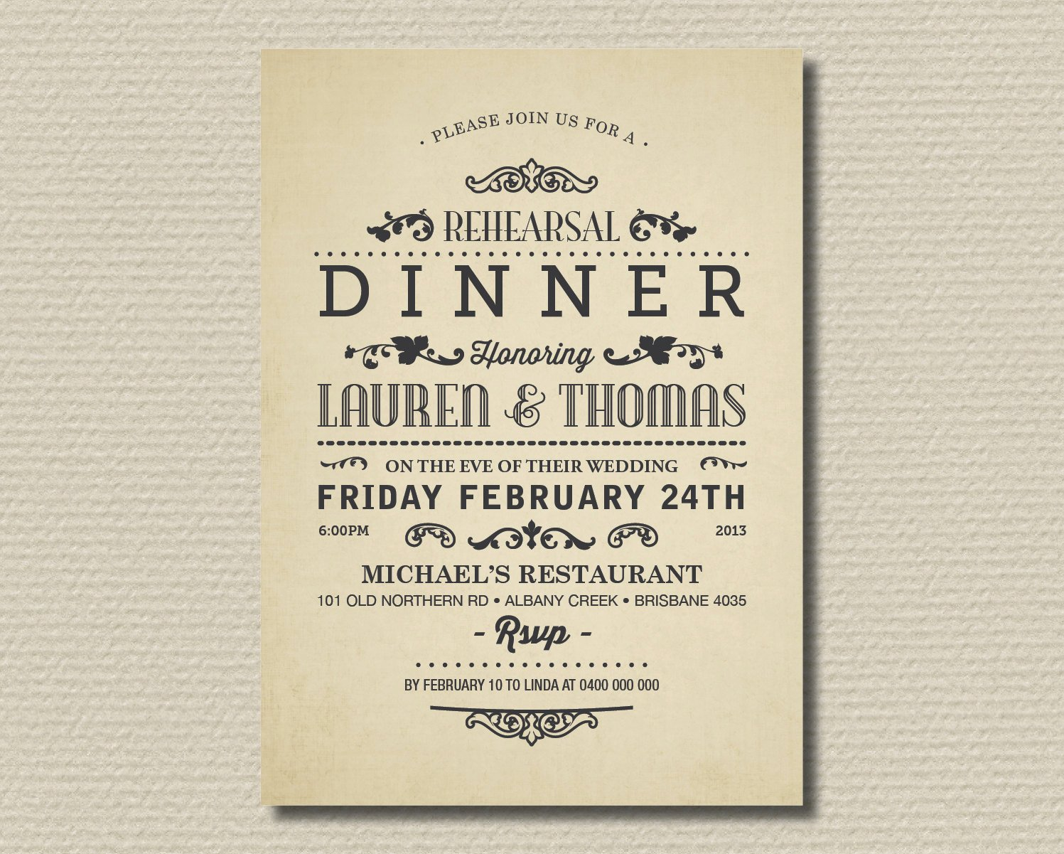 Dinner Party Invitation Wording Template
