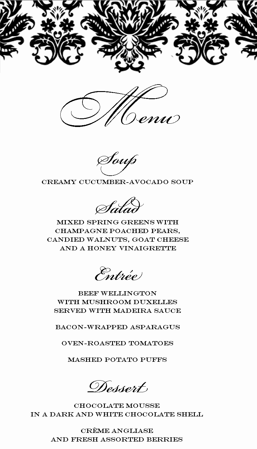 Dinner Party Menu Templates Free
