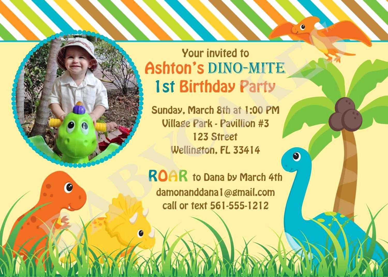 Dinosaur 1st Birthday Invitations