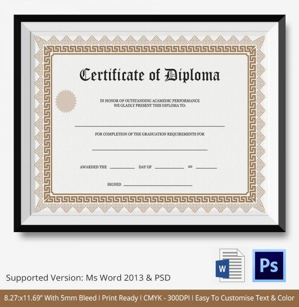 Diploma Certificate Template 25 Free Word Pdf Psd