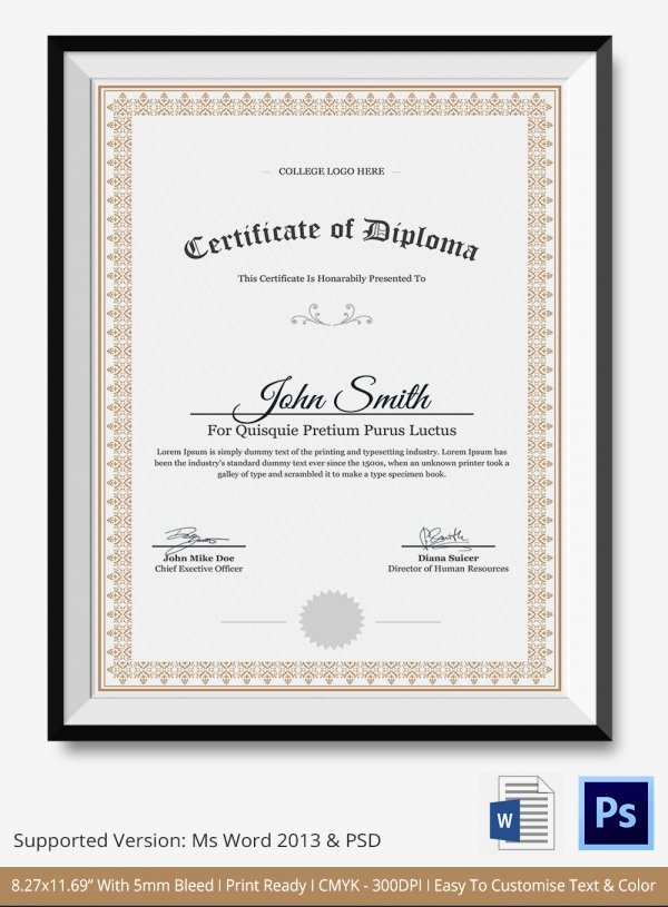Diploma Certificate Template Free Download Invitation