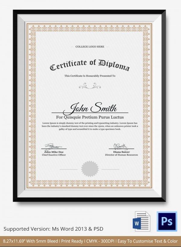 Diploma Certificate Template Free Download Invitation