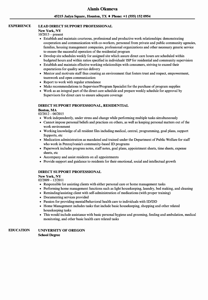 Direct Support Professional Resume Samples