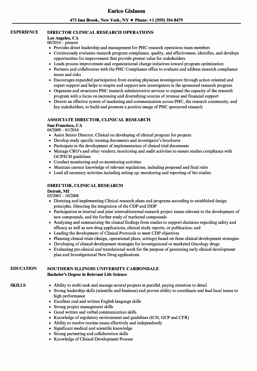 Director Clinical Research Resume Samples