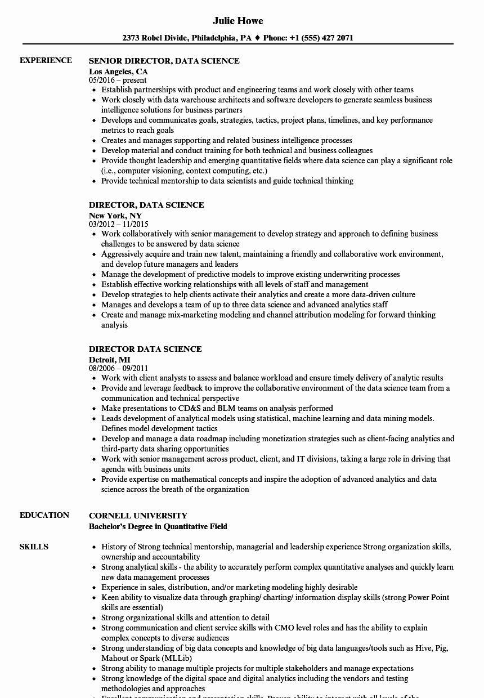 Director Data Science Resume Samples