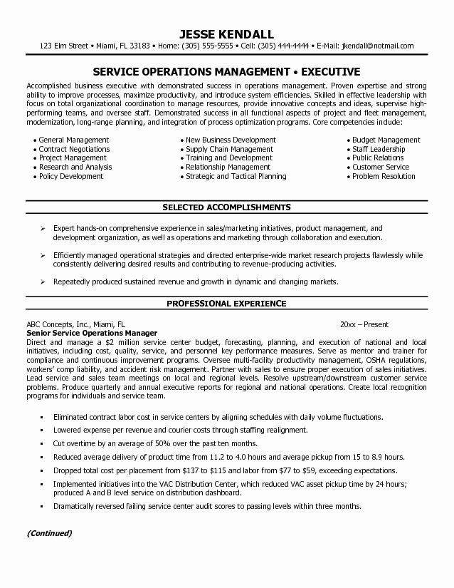 Director Operations Resume Sample
