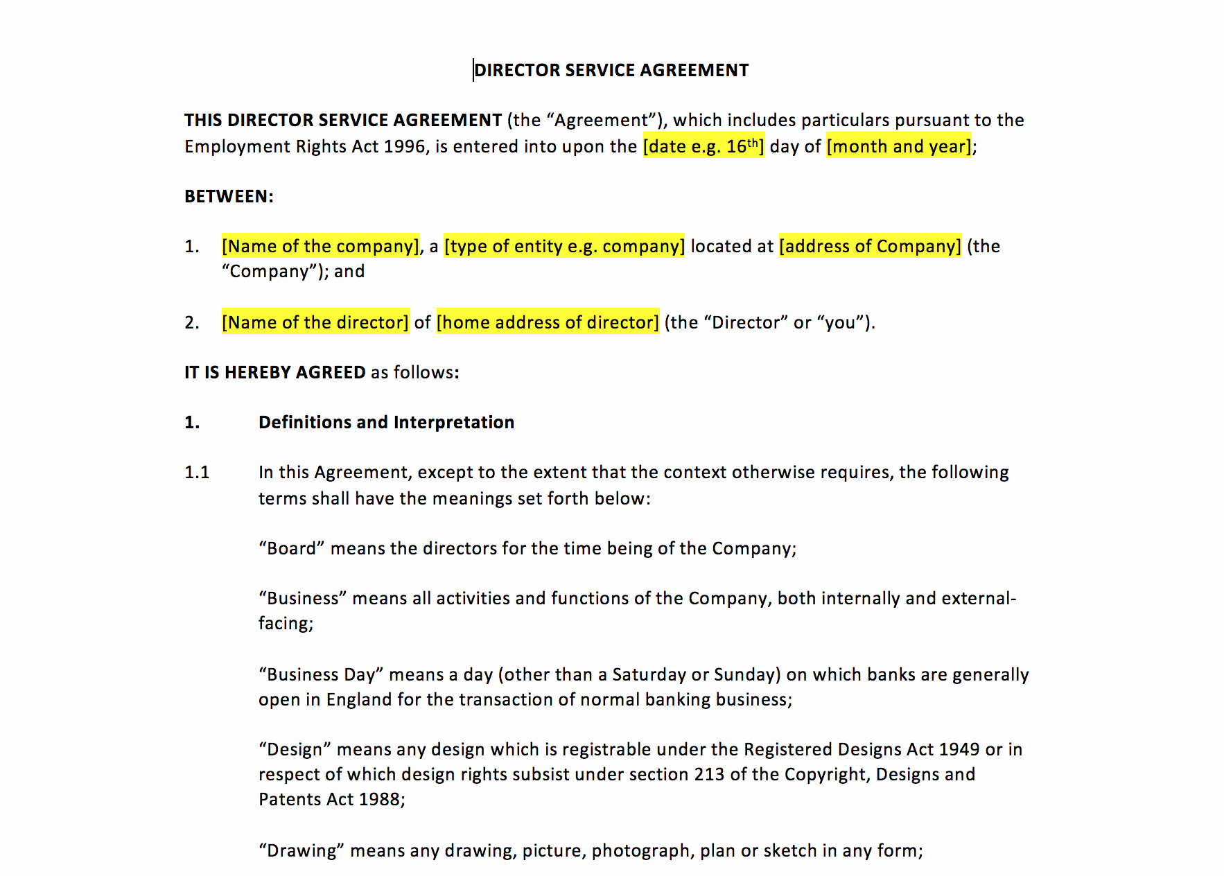 Director Service Agreement Template – Uk Template