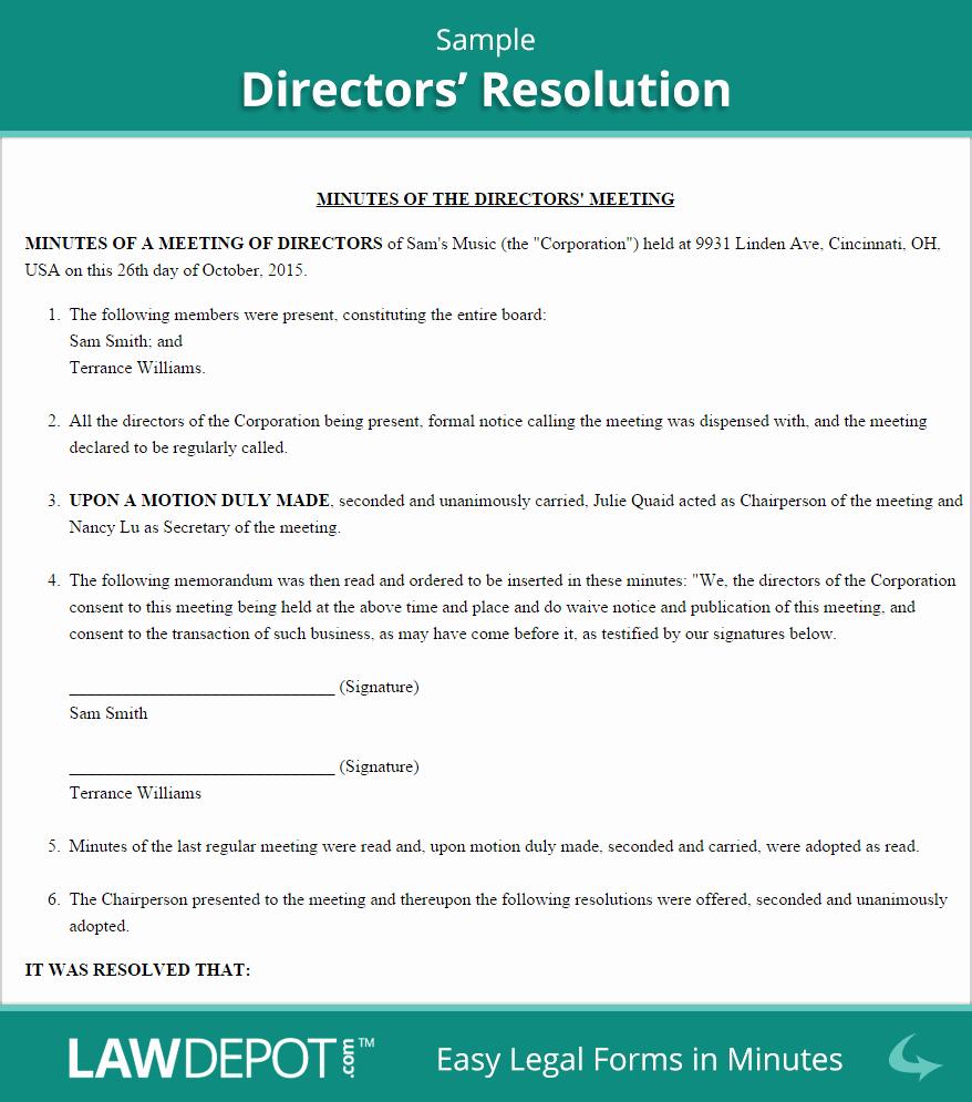 Directors Resolution form