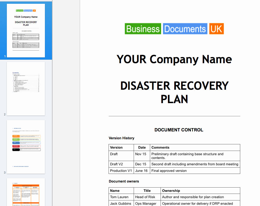 Disaster Recovery Plan Template Essential Cover