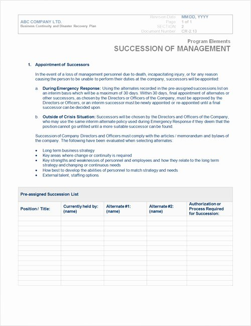 Disaster Recovery Plan Template Staruptalent