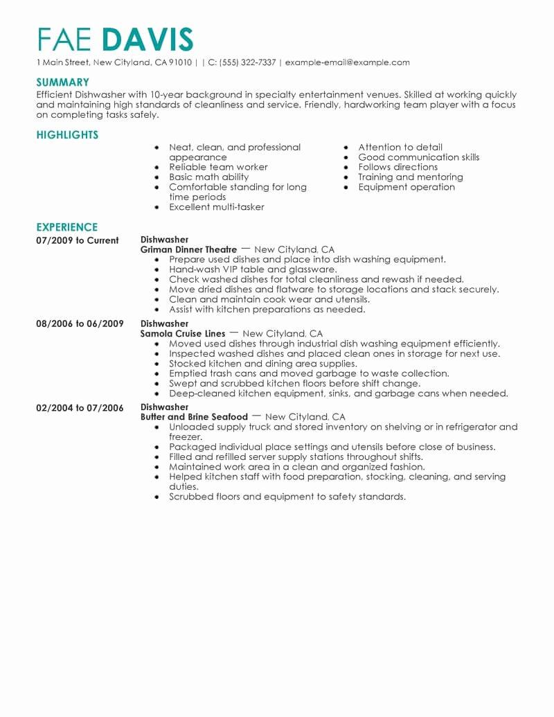 Dishwasher Job Description for Resume Annecarolynbird