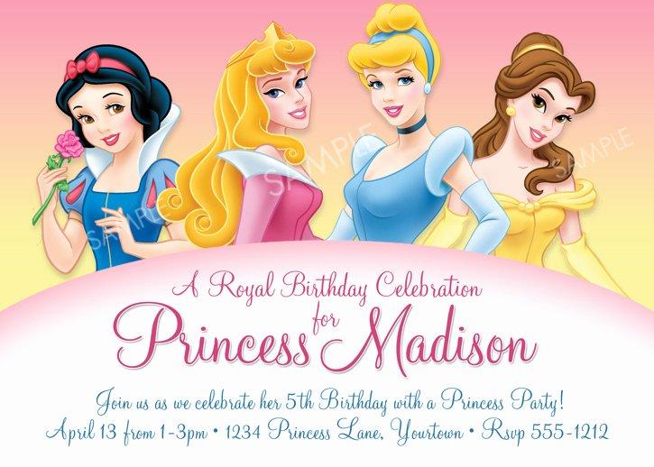 Disney Princess Birthday Invitations Disney Princess