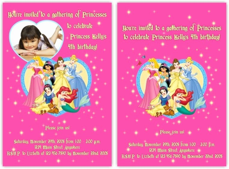 Disney Princess Invitation Card for Birthday
