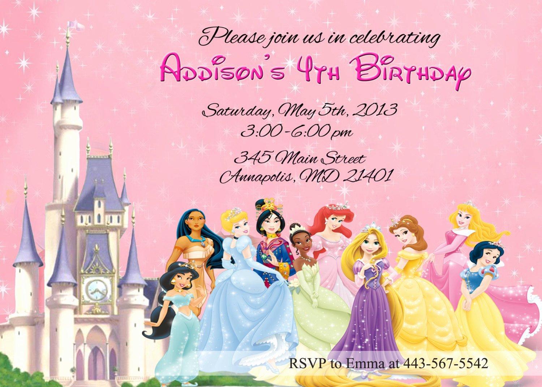 Disney Princesses Birthday Invitations Disney Princess