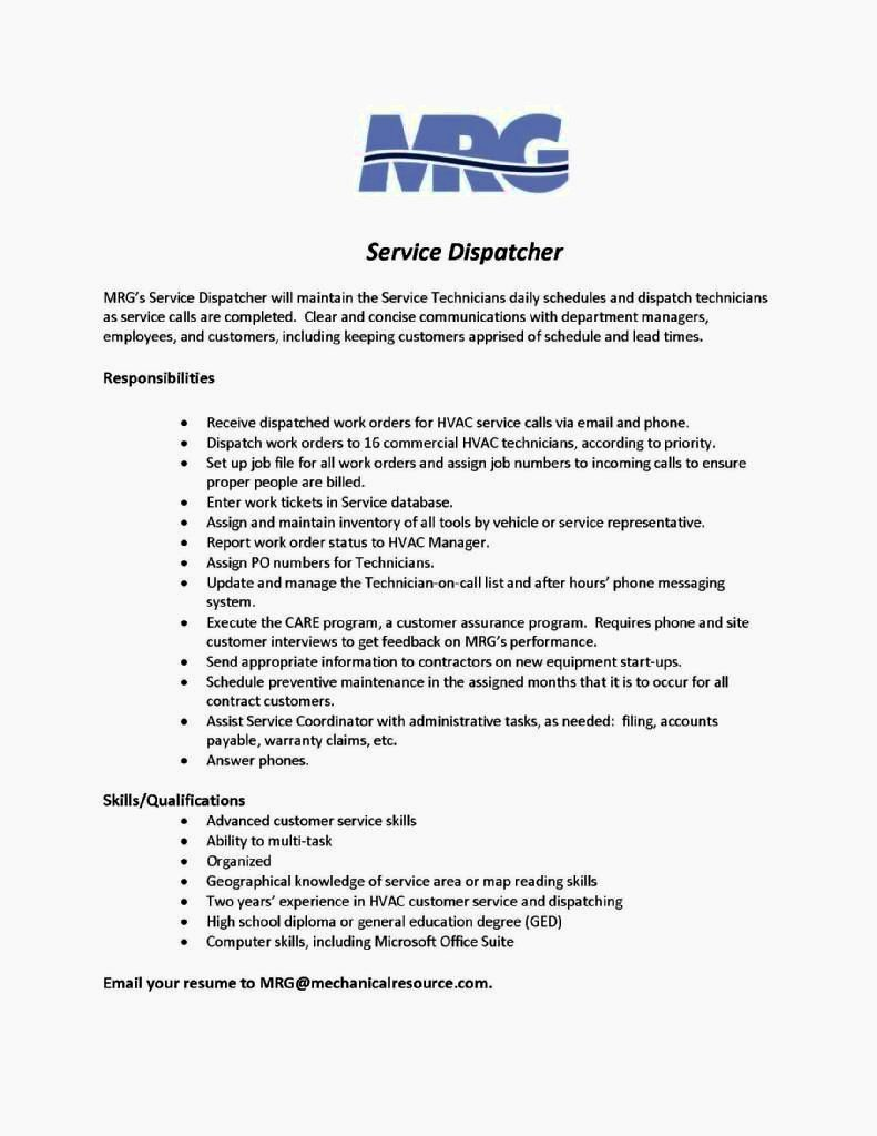 Dispatcher Job Description Resume