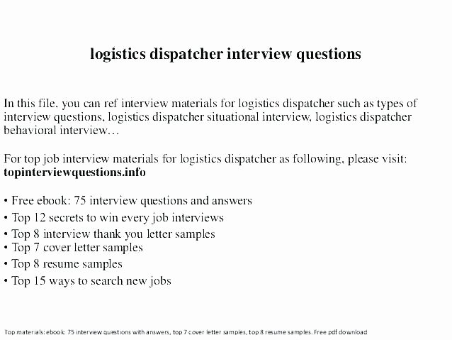 Dispatcher Resume Example Responsibilities Duty Letter