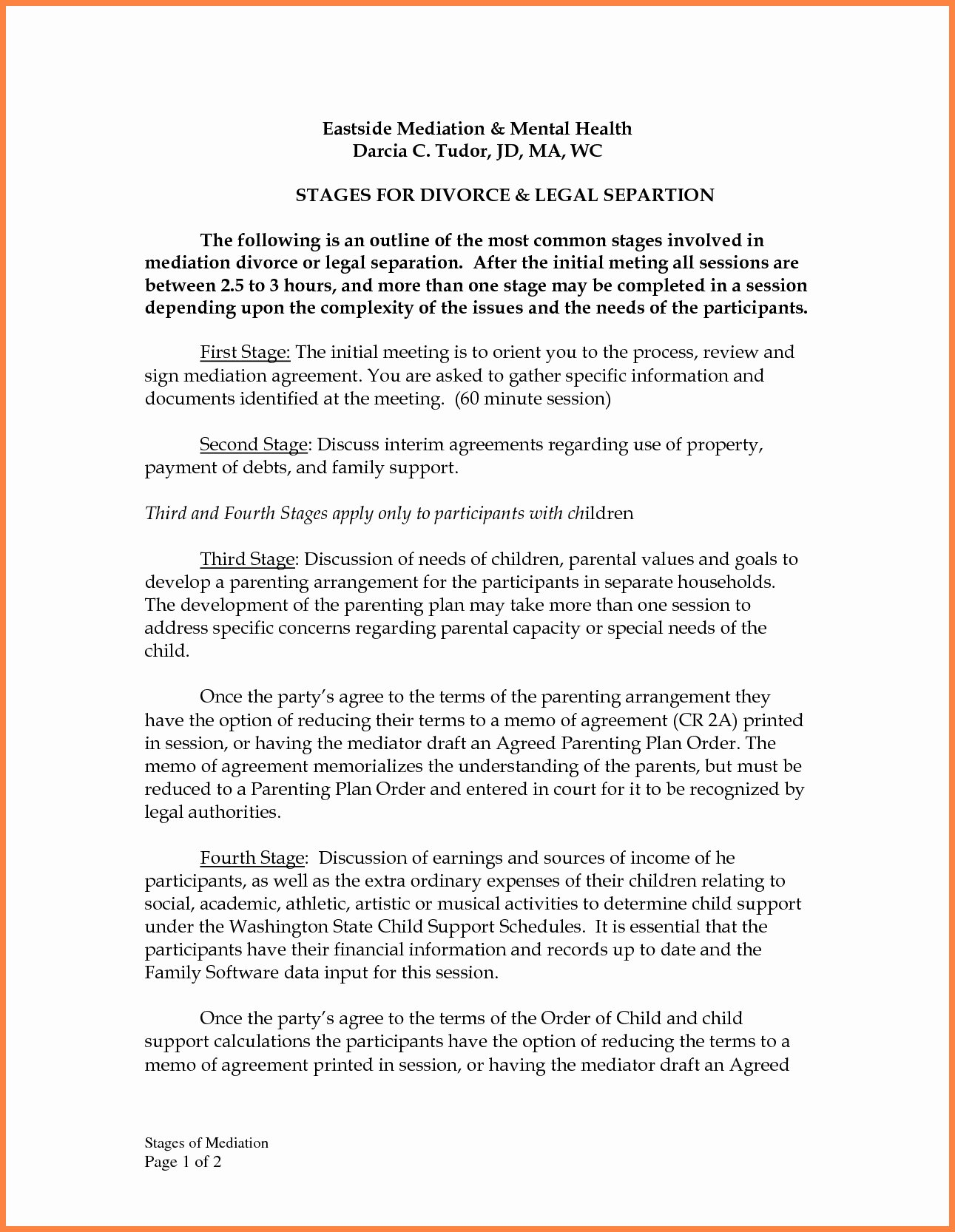 Divorce Mediation Settlement Agreement form Templates