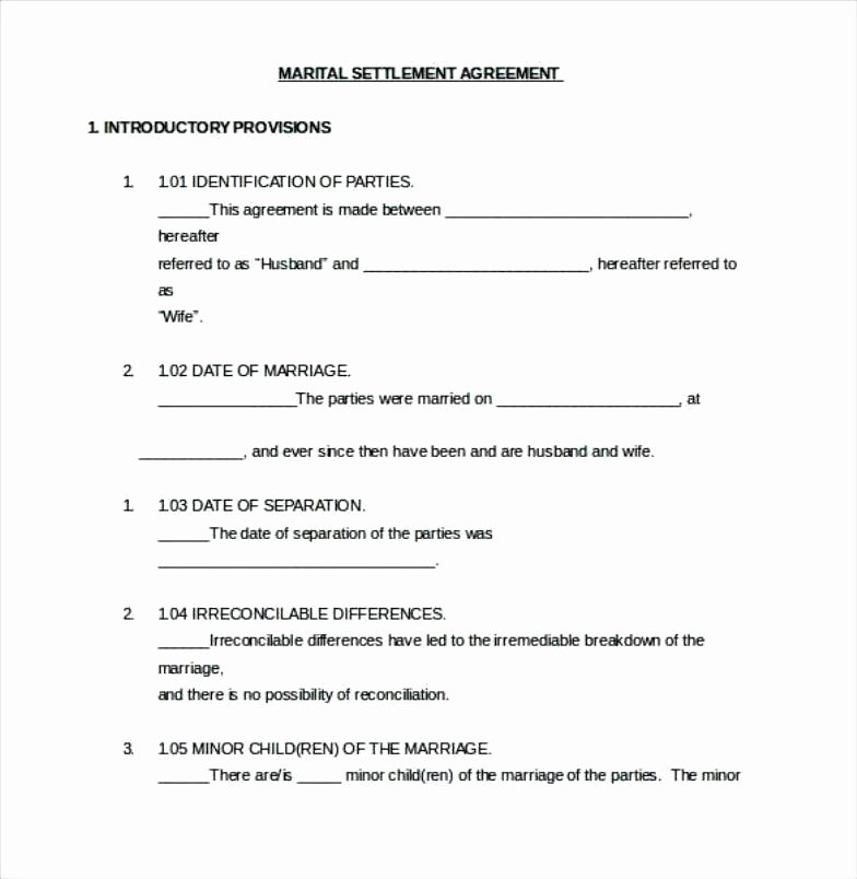 Divorce Property Settlement Agreement Unique Divorce