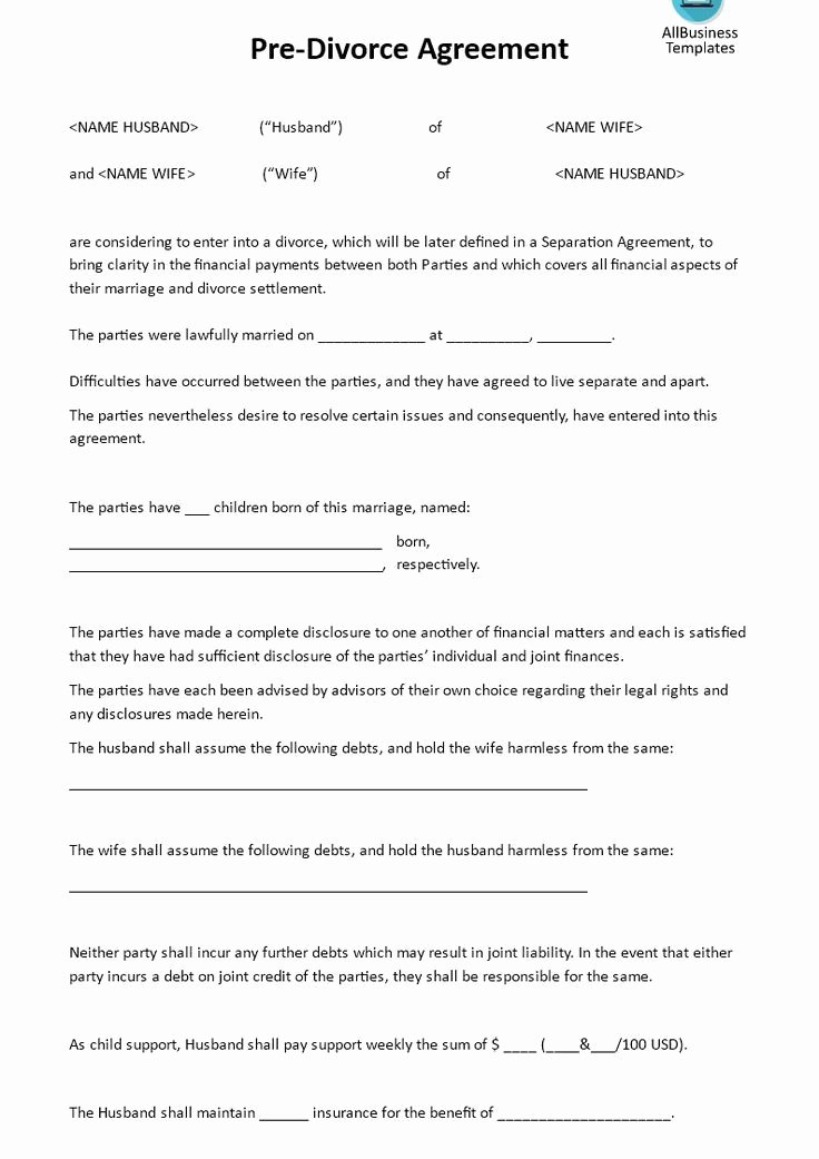 Divorce Settlement Template Tario Templates Resume