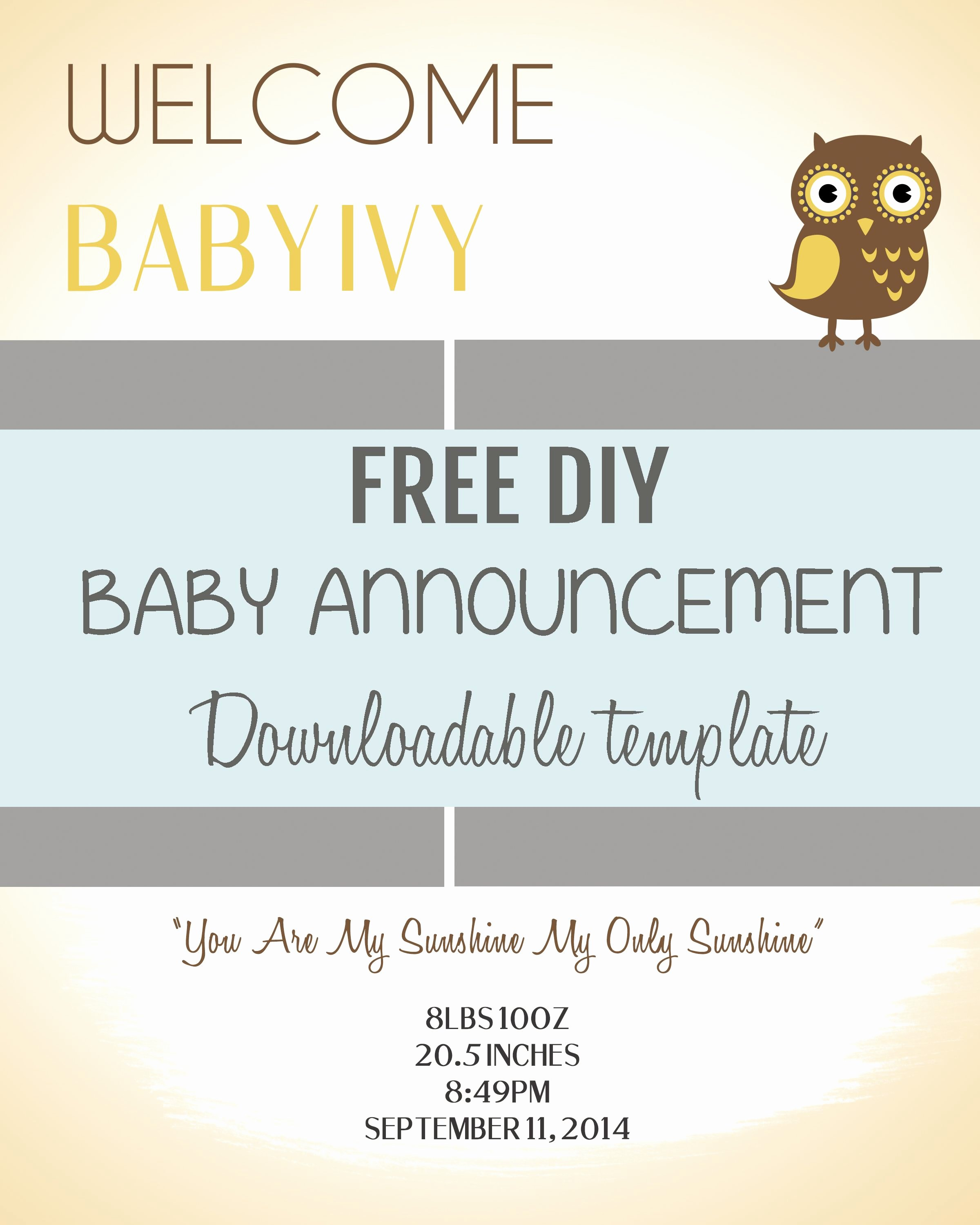 Diy Baby Announcement Template