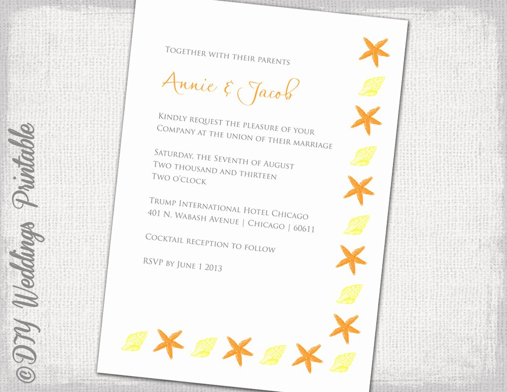 Diy Beach Wedding Invitations Template Yellow and