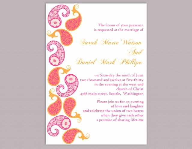 Diy Bollywood Wedding Invitation Template Editable Word