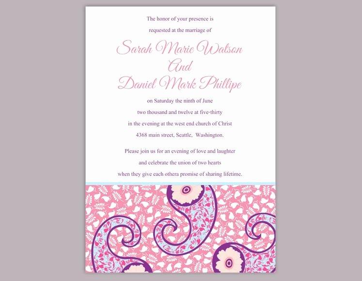 Diy Bollywood Wedding Invitation Template Editable Word