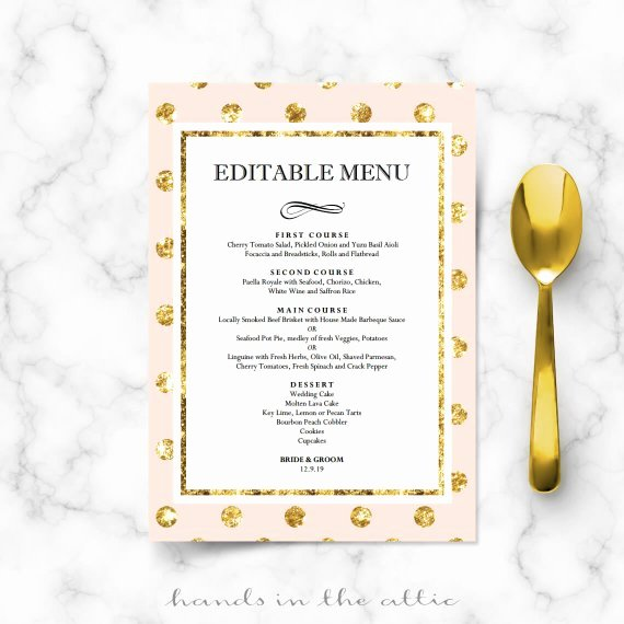 Diy Bridal Shower Menu Cards for Wedding Reception